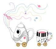 Muzykalny teapot i filiżanki pociąg Obraz Royalty Free