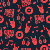 Muzykalny wektorowy tło, muzycznych akcesoriów bezszwowy wzór Zdjęcie Royalty Free