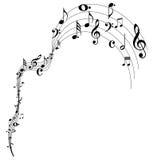 Muzyki falowania nutowy projekt Fotografia Royalty Free