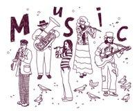 Muzyki grupy ludzie odizolowywają białych atramentów doodles Obrazy Royalty Free