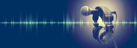 Muzyki i radia pojęcia sztandar obrazy stock