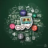 Muzyki i rozrywki kolaż z ikonami dalej Fotografia Stock