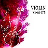 Muzyki klasycznej tło z skrzypce i muzykalnymi notatkami Zdjęcia Royalty Free