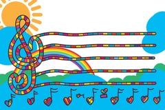 Muzyki miłości linii szablonu zaproszenia nutowa karta Zdjęcia Royalty Free