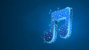 Muzyki notatka, melodia symbol Poligonalny technologii pojęcie opieka zdrowotna, cardio czek Abstrakt, cyfrowy, wireframe depresj ilustracji