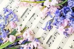 Muzyki notatki hiacyntu i prześcieradła kwiaty Zdjęcia Royalty Free