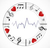 Muzyki nutowy tło z symbolami ilustracji