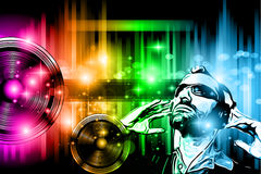 Muzyki Świetlicowy tło dla dyskoteka tana ulotki Fotografia Stock
