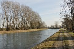 Muzza canal in winter country Stock Photography
