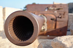 Muzzle artillery in a fortress Royalty Free Stock Photography