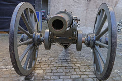 Muzzle of Cannon in the street in Thun Castle. Muzzle of Cannon in the street in Castle. Thun Castle is a Castle Museum in the Thun city, in Swiss canton of Bern Royalty Free Stock Image