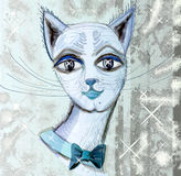 Muzzle cat.5. Beautiful, impudent muzzle of a cat with a bow. Square illustration Stock Image