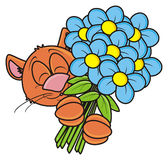 Muzzle cat with a bouquet Stock Images