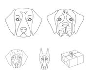 Muzzle of different breeds of dogs.Dog of the breed St. Bernard, golden retriever, Doberman, Dalmatian set collection. Icons in outline style vector symbol Royalty Free Stock Image