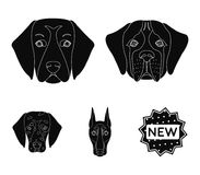 Muzzle of different breeds of dogs.Dog of the breed St. Bernard, golden retriever, Doberman, Dalmatian set collection. Icons in black style vector symbol stock Royalty Free Stock Image