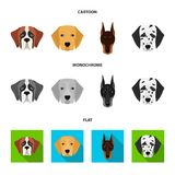 Muzzle of different breeds of dogs.Dog of the breed St. Bernard, golden retriever, Doberman, Dalmatian set collection. Icons in cartoon,flat,monochrome style Royalty Free Stock Images