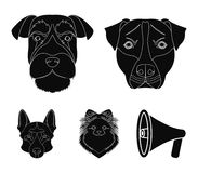 Muzzle of different breeds of dogs.Dog breed Stafford, Spitz, Risenschnauzer, German Shepherd set collection icons in. Black style vector symbol stock Stock Image
