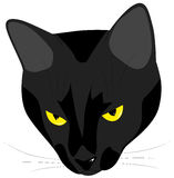 The muzzle of the evil black cat. With yellow eyes Stock Image