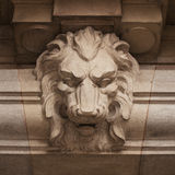Muzzle ferocious lion carved in stone Royalty Free Stock Photos