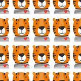 Muzzle of tigers, seamless pattern royalty free illustration