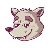 Muzzle wolf. cute character who smiles. royalty free illustration