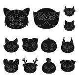 Muzzles of animals black icons in set collection for design. Wild and domestic animals vector symbol stock web. Muzzles of animals black icons in set collection Royalty Free Stock Photography
