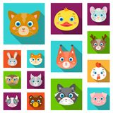 Muzzles of animals flat icons in set collection for design. Wild and domestic animals vector symbol stock web. Muzzles of animals flat icons in set collection Stock Photo