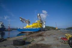 Mv北海巨人被停泊对船坞在口岸halden,亦不 库存照片