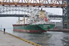 MV进入哈密尔顿港口的Greenwing 库存照片