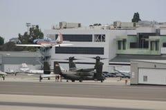 MV-22B Osprey lands in Santa Monica Stock Photo