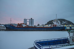 MV Falkberg στην αποβάθρα στο λιμένα Halden Στοκ Εικόνα