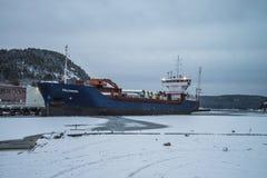 MV Falkberg on the dock at the port of Halden Stock Images