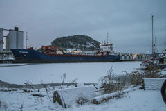 MV Falkberg on the dock at the port of Halden Stock Images