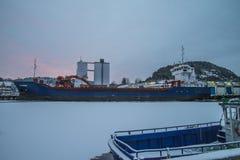 MV Falkberg op het dok bij de haven van Halden Stock Afbeelding
