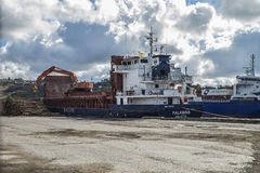 Mv Falkbris unloads timber Royalty Free Stock Photography