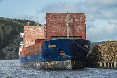 Mv Falkbris unloads timber Royalty Free Stock Images