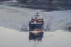 MV Hagland Captain sails through the Ringdalsfjord Stock Photography