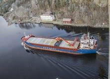 MV Hagland Captain sails through the Ringdalsfjord Royalty Free Stock Photography