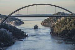 MV Hagland Captain sails through the Ringdalsfjord Stock Photos
