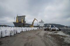 Mv Komet III unloads chemical goods Stock Photography