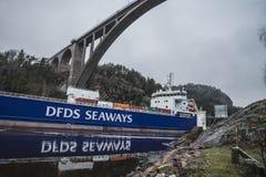 MV Lysvik Seaways sails out of Ringdalsfjord Royalty Free Stock Photo