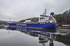 MV Lysvik Seaways sails out of Ringdalsfjord Royalty Free Stock Images