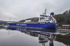 MV Lysvik Seaways sails out of Ringdalsfjord Royalty Free Stock Images