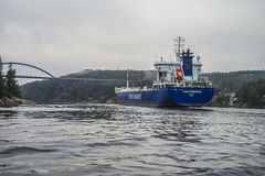 MV Lysvik Seaways sails out of Ringdalsfjord Royalty Free Stock Image