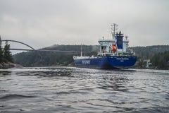 MV Lysvik Seaways sails out of Ringdalsfjord Royalty Free Stock Image