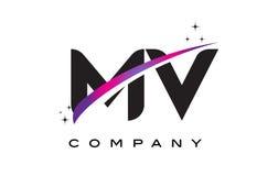 MV M V Black Letter Logo Design with Purple Magenta Swoosh. And Stars vector illustration