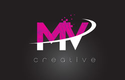 MV M V Creative Letters Design With White Pink Colors Royalty Free Stock Image