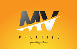 MV M V Letter Modern Logo Design with Yellow Background and Swoo. MV M V Letter Modern Logo Design with Swoosh Cutting the Middle Letters and Yellow Background Royalty Free Stock Photography