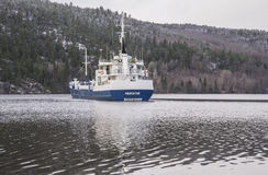 MV Mercator. Sailing in Iddefjord Halden, Norway. Mercator is a cargo ship. Some facts about : Flag:  St Kitts Nevis (KN Stock Image