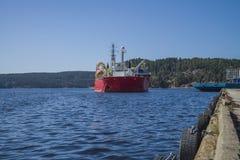 MV Nexans Skagerrak heading towards the harbor Royalty Free Stock Photo